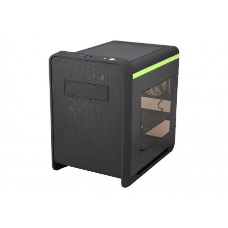 DIYPC Cuboid-G Black USB 3.0 Gaming Micro-ATX Mid Tower Computer Case w/ 1 x 140mm LED Green Fan x Front, 1 x 120mm LED Green Fan x Rear